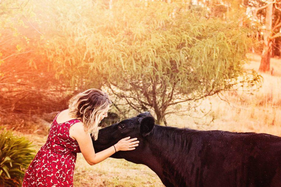 A képen egy vegán lány és egy tehén látható.